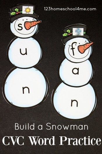 FREE Snowman CVC Words - this printable activities will help preschool, kindergarten, first grade, and 2nd grade practice simple words with a fun winter theme. Perfect for centers #cvcwords #christmasprintables #winterprintables