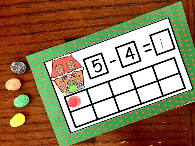 Christmas math centers to make practicing addition and subtracting fun