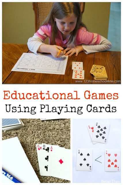 Do your kids like playing cards? Card games played with a regular deck of cards are already educational, but you can make playing cards even more educational when you try some of these fun and easyeducational card games for preschool, pre-k, kindergarten, first grade, and 2nd grade students. These make practicing math fun with a hands-on math activity.