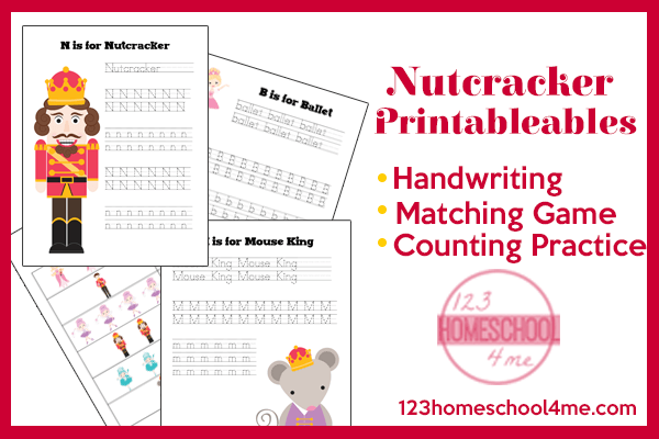 nutcracker christmas worksheets for preschool, kindergarten and first grade