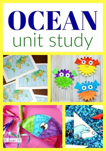 Oceans Unit Study filled with so many creative ideas for your complete lesson plan for kids in preschool, kindergarten, first grade, 2nd. (tons of free printables for under the sea) #oceantheme #undertheseatheme #preschool
