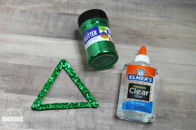 paint the triangle with green glitter paint