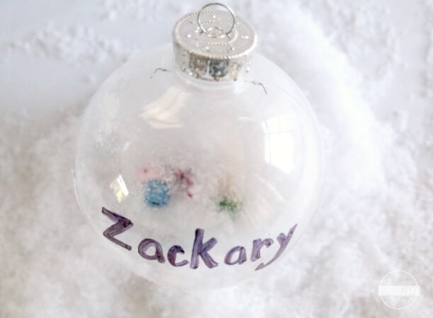 plastic ornament, fake snow, letter bead, sharpie