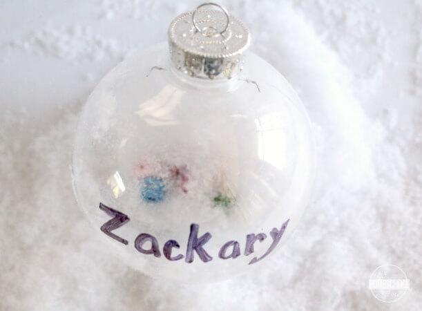 plastic ornament, fake snow, letter bead, sharpie