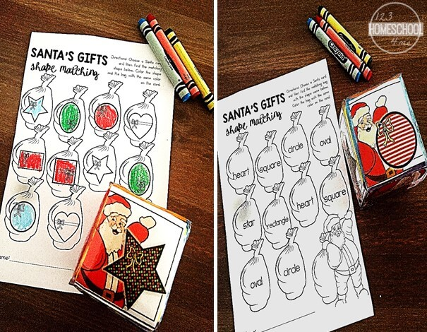 shape names Christmas game for kindergarten