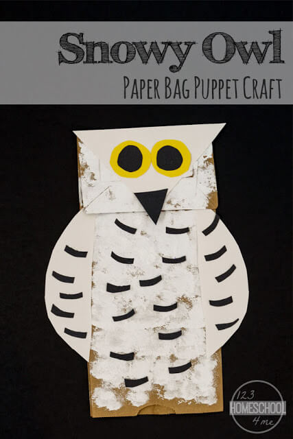 Owl Crafts have always been some of my favorite. They are just so cute! With winter coming, we decided to make a Snowy Owl Craft. This owl paper bag puppetis such a fun, easy-to-make winter craft for kids from toddler, preschool, pre-k, kindergarten, first grade, and 2nd graders. Thissnowy owl craft is perfect for December, January, and February as a winter animal craft.