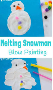 melting snowman blow painting