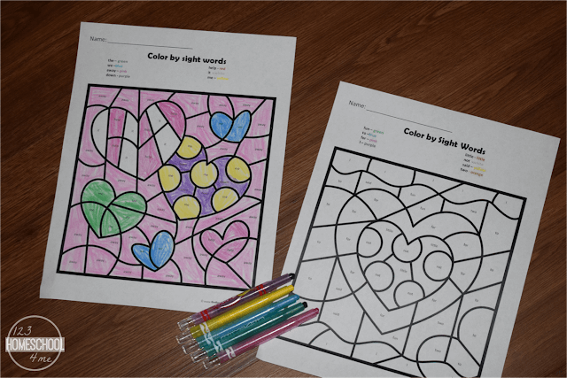 FREE printable Color by Sight Words worksheets for preschool, kindergarten, first grade