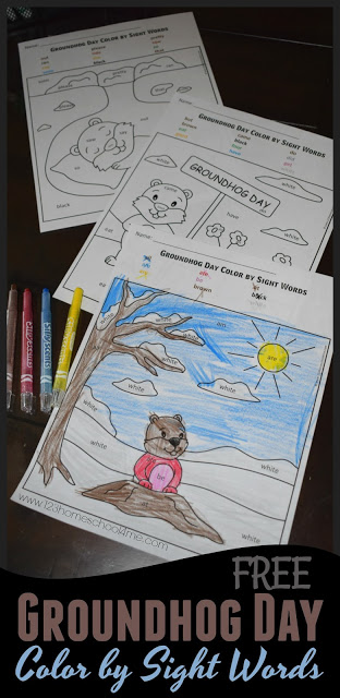 FREE Groundhog Day Color by Kindergarten Sight Words - these seasonal sight word worksheets make practicing dolch sight words fun while strengthening fine motor skills. Perfect center, morning work, theme, or homeschool NO PREP worksheet for preschool, kindergarten, of first grade kids.