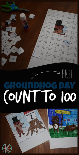FREE Groundhog Day Count to 100 Printables! So many fun, clever activities for practicing counting including strip puzzles and these adorable cut and paste puzzles that practice counting to 20, counting to 100, and so much more! Perfect math worksheets for preschool, kindergarten, and first grade at home preschool, math centers, homeschool, and more.