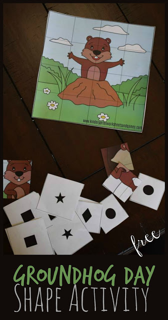 FREE Printable Groundhog Day Shape Activities is a fun way for preschool and kindergarten to practice identifying shapes with a fun themed activity. Perfect early math for February!