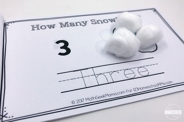 cotton ball snowballs count to 10 practice for preschool and kindergarten