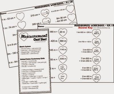 Valentiens Day Measurement Math Worksheets including meter / centimeter, kilometer / meter, yard / feet / inch, kilogram / gram, pound / ounces, liter, milliliter, gallon / quart / pint / cup