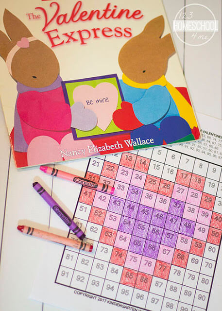 FREE Valentines Day 100s chart activity to go along with a valentines day story for kids. This is such a fun, hands on math activity for preschool, kindergarten and first grade. These NO PREP free printable math worksheets will make practicing counting to 100 fun in a math center, homework, morning seat work, or homeschool.