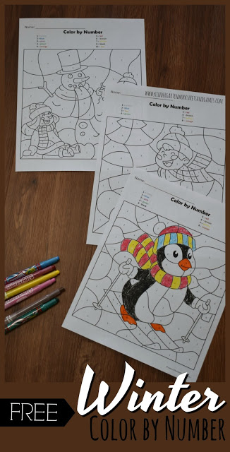 FREE Winter Color by Number for Kids is a fun way for toddler, preschool, kindergarten, and first grade kids to practice identifying numbers and strengthening fine motor skills as they reveal the hidden picture in these winter worksheets for kids.