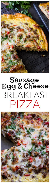 "Pizza for breakfast? You betcha! But not reheated ""dinner"" pizza, but an amazing, Easy Breakfast Pizza Recipe that is sure to start your day with a satisfied smile!"