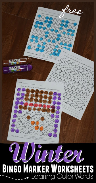 Winter Bingo Marker Worksheets