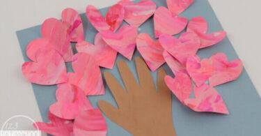 Valentines Fingerpainted Heart Tree