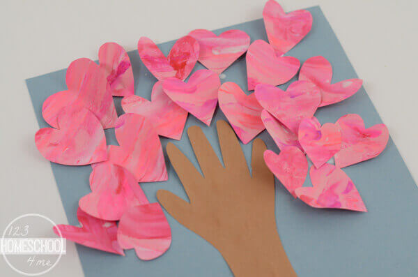Valentines Fingerpainted Heart Tree