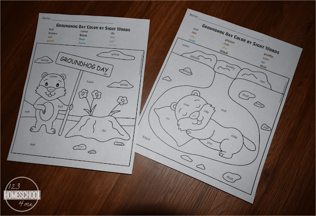 groundhog day sight word worksheets