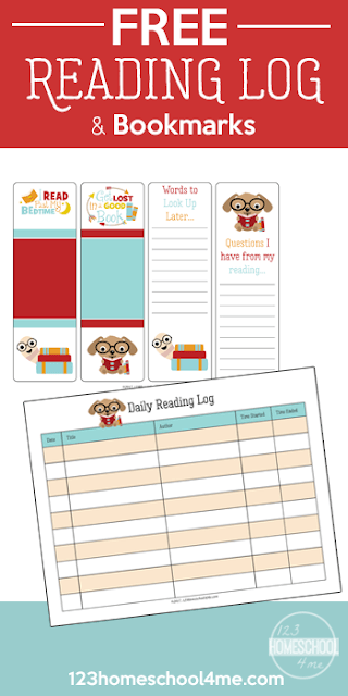 FREE Reading Log & Bookmarks - super cute free printable logs to encourage kids to read