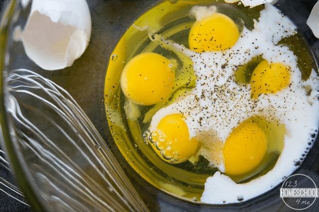 scramble 5 eggs and milk