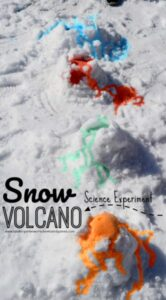 Easy snow volcano science experiment