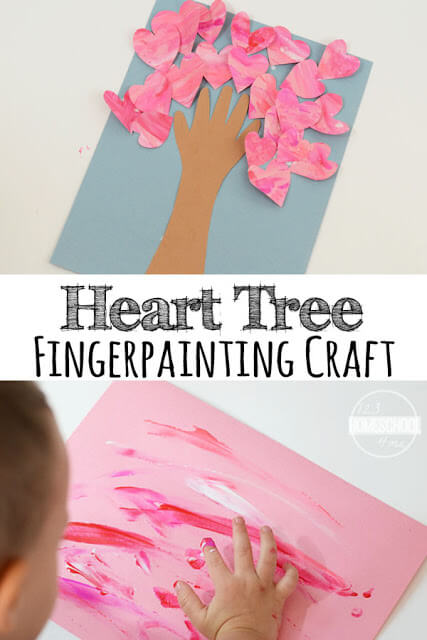 Valentines Fingerpainted Heart Tree - super cute valentines day craft for kids, for toddlers, for preschoolers, and kindergarten age kids. It is perfect for a gift or for schools. This heart craft is easy to make and super cute!