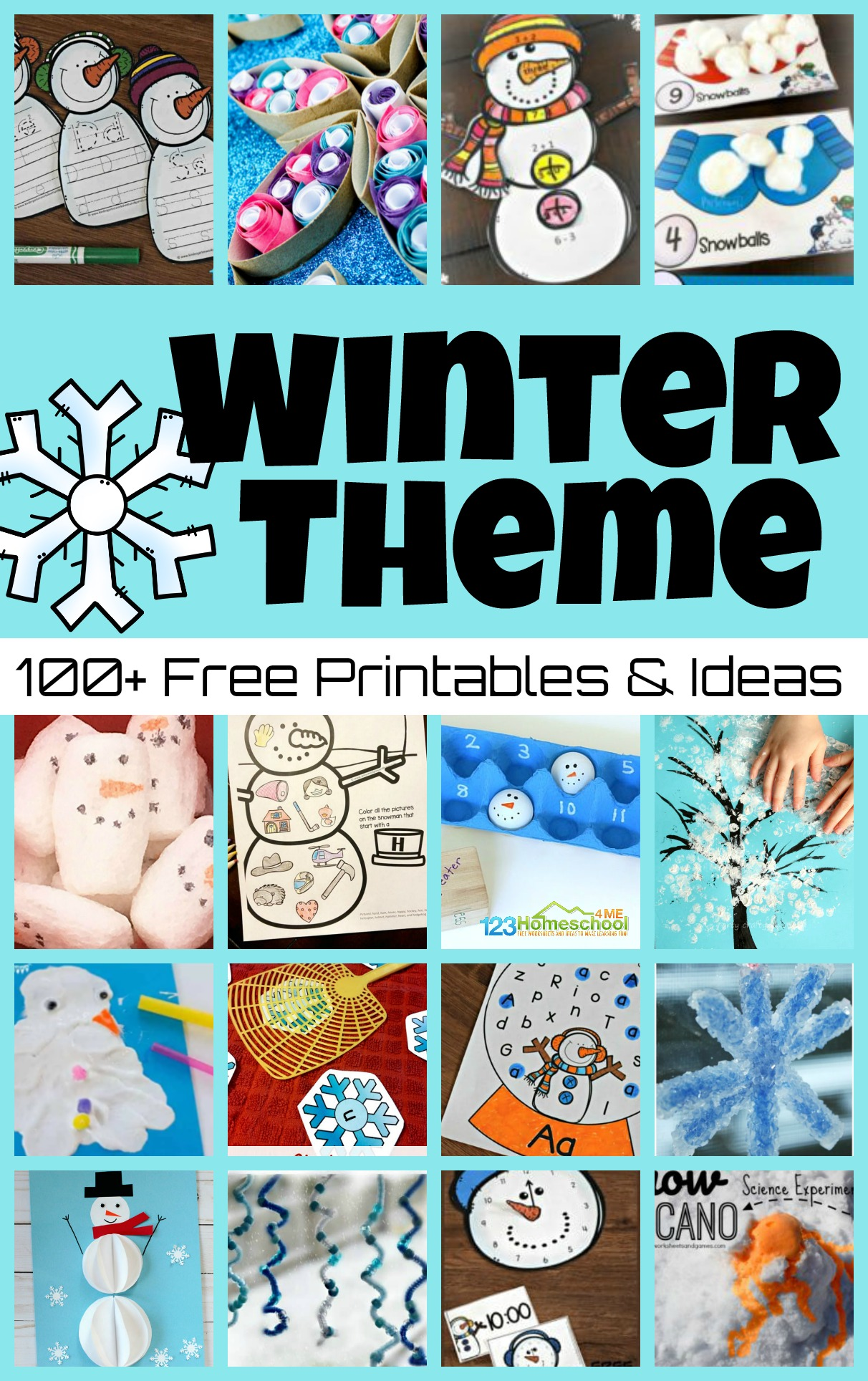 Your children will have fun learning all winter long with these fun ideas for a winter theme! We have over 100 free printable winter theme ideas, plus winter crafts and winter activities for kids. Plus we have educational activities like winter math and winter science and language arts activities too! This January theme is perfect for preschool, pre-k, kindergarten, first grade, 2nd grade, 3rd grade, 4th grade, 5th grade, and 6th graders too.