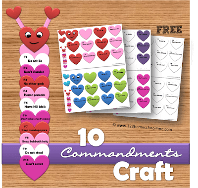 10 Commandments Bible Craft for Sunday School Lessons on Valentines Day