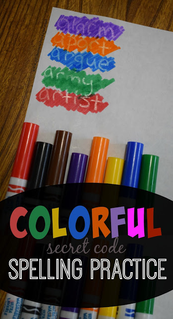 Colorful Spelling Practice - Kids will have fun practicing spelling words from any list with this spy like, secret code activity using just a couple simple things you already have on hand. Also great for writing secret messages with your kids! (homeschool, moms, preschool, kindergarten, first grade, 2nd grade, 3rd grade, 4th grade, 5th grade, 6th grade, spelling words)