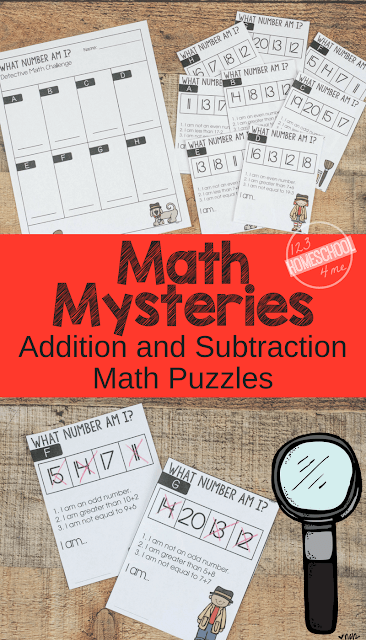 FREE Math Mysteries - FUN Addition and Subtraction Math Problems - these free printable math word problems make it fun for kindergarten, first grade, 2nd grade, 3rd grade, and 4th grade students to practice math.