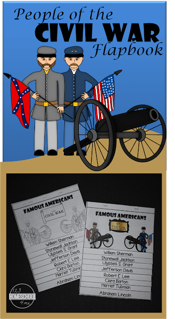 FREE People of the Civil War Flapbook - This is such a cute free printable to help kids from 3rd grdae, 4th grade, 5th grade, 6th grade, 7th grade, and 8th grade kids to learn about famous americans like William Sherman, Stonewall Jackson, Ulysses S. Grant, Jefferson Davis, Robert E. Lee, Clara Barton, Harriet Tubman, and Abraham Lincoln.