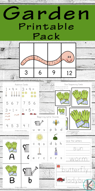 Garden Worksheets for Kids - FREE printable printables to help preschool, prek, kindergarten, and first grade practice counting, alphabet letters, gardening words, sorting by size, skip counting, math practice, addition, and so much more.