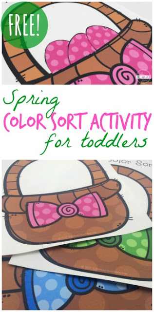 Help kid practice identifying pink, green, purple, blue, and yellow with this easter activity for preschoolers. In this easter activity for toddlers, children will sort the Easter Egss into the basket with the matching bow. This is a fun way to work on color regognition with a spring activity for kids.  Simply download pdf file with easter egg printables and you are ready to play and learn!