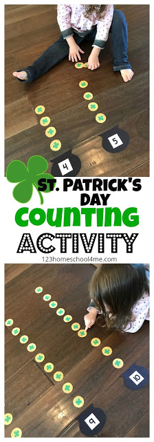 st patricks day counting Activity will encourage young learners to practice counting, work on number recognition, and get them up and moving! Use this st patricks day math project with toddler, preschool, pre-k, and kindergarten age students to count 1-20. Simply download pdf file withst patrick's day printables free.