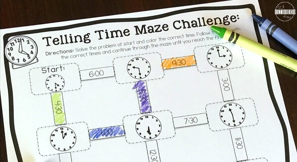 kids will have fun learning to use a clock with these Telling Time Printable Games for prek, kindergarten, first grade and 2nd graders