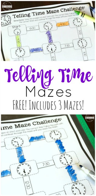 Free Telling Time Mazes 123 Homeschool 4 Me