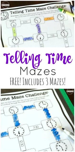 FREE Telling Time Mazes