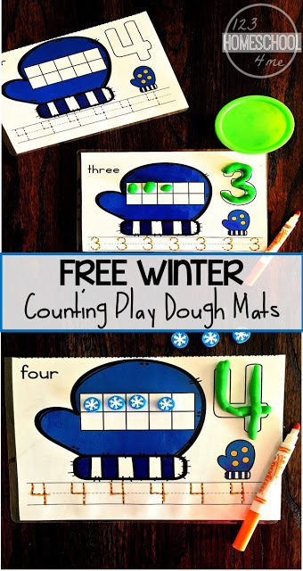FREE Winter Play Dough Counting Mats - these counting mats are such a fun way for toddler, preschool, prek, and kindergarten age kids to practice counting to 10, writing number words, and forming numbers with playdough