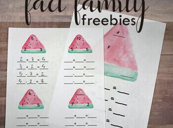 Watermelon Fact Family Worksheets