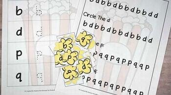 Popcorn Letter Reversal Worksheets