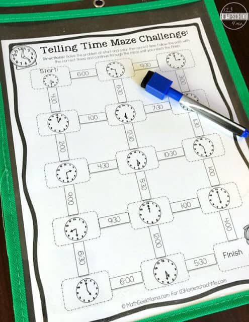 super cute and easy to use Free Printable Telling Time Games are perfect for kindergarten math and grade 1 math