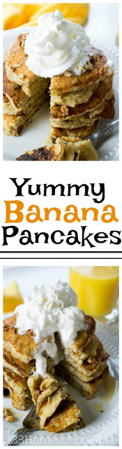 Yummy Banana Pancakes - Your family is going to love these delicious, filing, and good for you banana pancakes! YUMMY recipe
