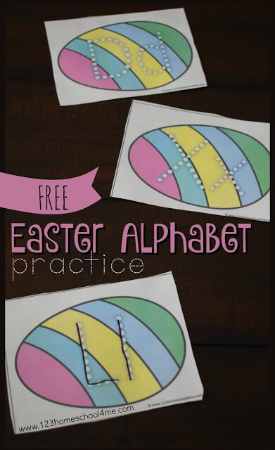 FREE Easter Alphabet Letters Practice - this is such a fun way for toddler, preschool, kindergarten, and first grade kids to practice writing their ABCs with a fun Easter themed center, practice, spring practice, or more.