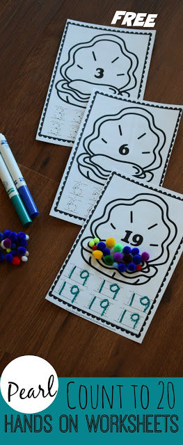 FREE Pearl Count to 20 Hands-on Worksheets - these are such a fun clever way for toddler, preschool, and kindergarten age kids to practice counting to 20 while practicing writing numbers at the same time. Great for math centers, home preschool, extra practice, spring break, summer learning, and more.
