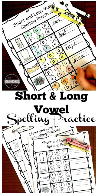 FREE Printable CVC Words Worksheets for short vowel and long vowel spelling practice. This is great for practicing helping vowel e for first grade and 2nd grade kids. Great for learning phonics, sounding out words, and more