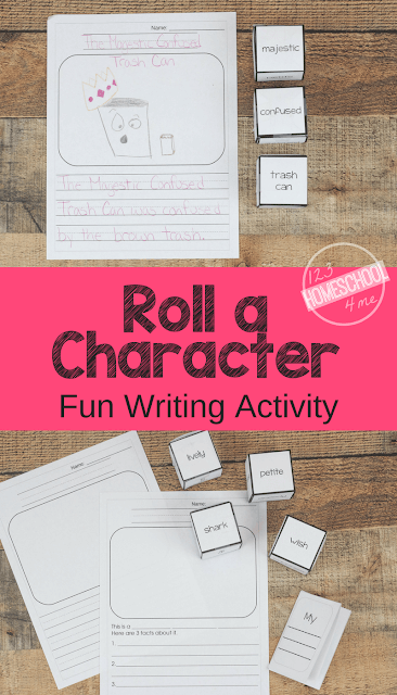 FREE Roll a Character Fun Writing Activity - this is such a fun creative writing activity. This fun, free printable writing prompt is perfect for kindergarten, first grade, 2nd grade, 3rd grade, 4th grade, and 5th grade kids.