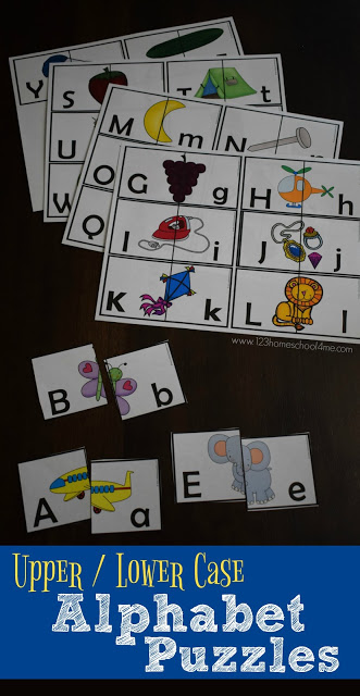 FREE Upper and Lower Case Alphabet Puzzles are a hands on educational game for toddler, preschool, prek, kindergarten