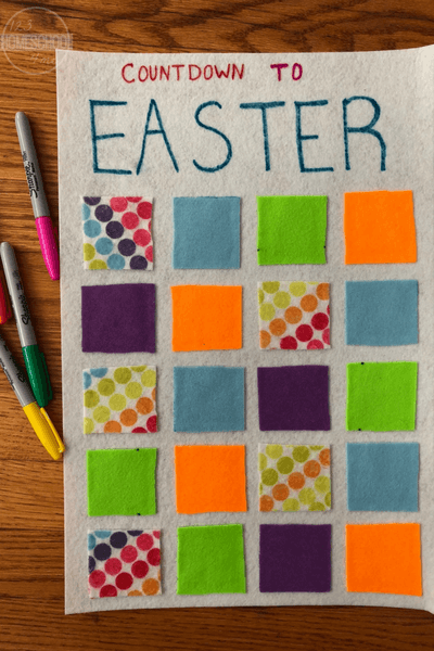 Why should Christmas get all the fun countdown calendars? Make this fun easter countdown craft is a fun way to get ready for Easter with your toddler, preschool, pre-k, kindergarten, first grade, and 2nd graders.  The best part is this countdown to easter is super easy to make!